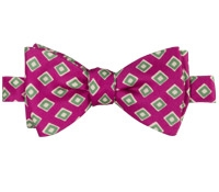 Silk Print Diamond Motif Bow Tie in Fuchsia