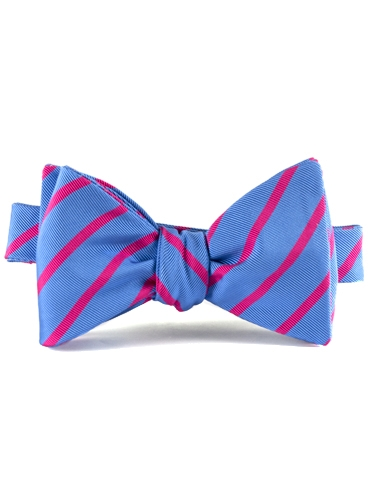 Mogador Bar Stripe Bow in Cobalt