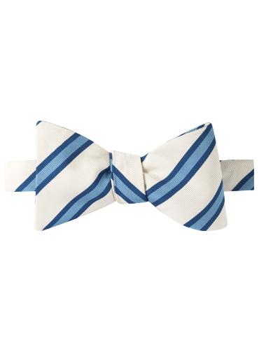 Mogador Striped Bow Tie in White