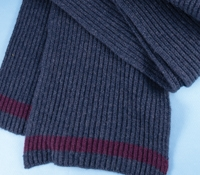 Cashmere Ribbed Scarf in Denim with Wine