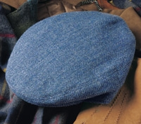 Wool Garforth Cap in Royal Blue Herringbone