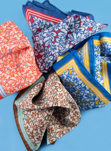Tropical Floral Print Cotton Pocket Squares