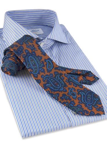 Silk Print Paisley Tie in Copper