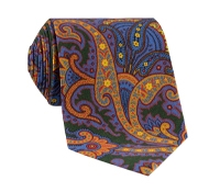 Silk Paisley Printed Tie in Forest