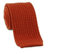 Sea Island Cotton Knit Tie in Rust