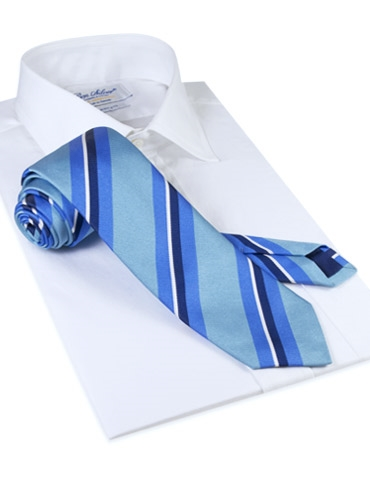 Silk Woven Multi-Stripe Tie in Aqua