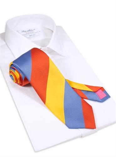 Woven Block Stripe Tie in Sun, Cornflower Blue and Tangerine