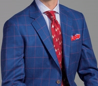 Storm Blue Silk and Wool Sport Coat with Brick Windowpane