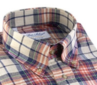 Beige, Navy, Lime, and Strawberry Plaid Button Down in Linen