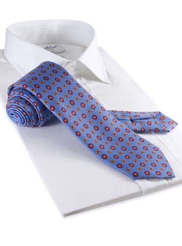 Silk Neat Motif Tie in Sky
