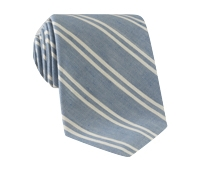Linen and Cotton Double Stripe Tie in Denim