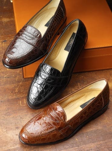Crocodile Penny Loafers