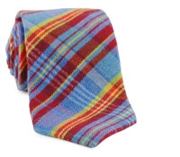 Blue Plaid Cotton/Wool Tie