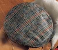 Wool Helmsley Cap in Navy and Sage Glen Plaid with Fire Windowpane