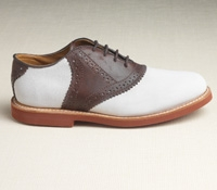 Ladies Saddle Shoe in Tan and Chocolate