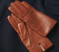 Cognac Nappa Leather Basketweave Gloves