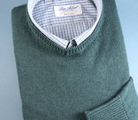 Cotton Cashmere and Silk Crew Neck Sweater in Jade