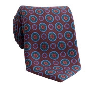 Silk Printed Madder Tie With Medallion Motif in Cocoa