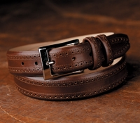 Dark Tan Leather Belt in Brogue Pattern