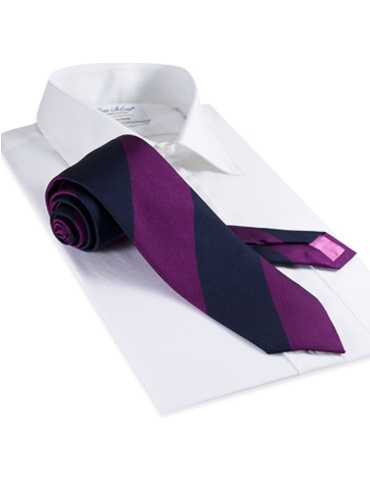 Silk Block Stripe Tie in Berry and Navy