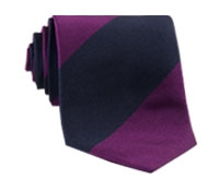 Silk Block Stripe Tie in Berry and Navy