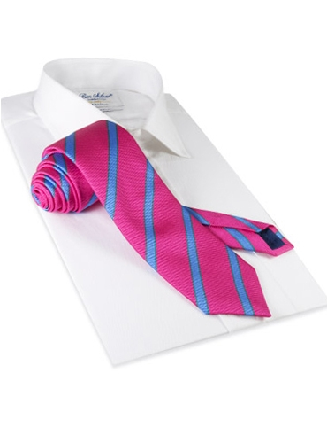 Silk Stripe Tie in Magenta and Cornflower