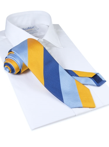 Silk Block Stripe Tie in Sun, Sky and Navy