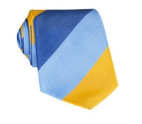 Silk Block Stripe Tie in Sun, Sky and Navy