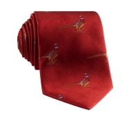 Jacquard Woven Pheasant Motif Tie in Ruby
