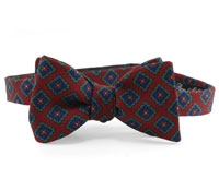 Wool Printed Neat Bow Ruby