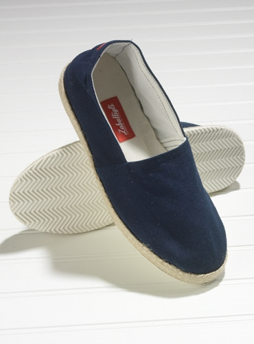 Navy Canvas Espadrilles with Rubber Soles