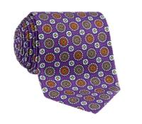 Silk Medallion Motif Printed Tie in Purple