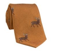 Silk Woven Elk Motif Tie in Ochre