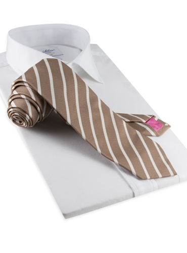Mogador Bar Stripe Tie in Mocha