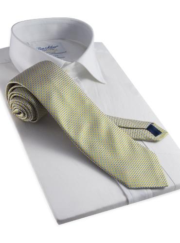Silk Basketweave Tie in Sun and Cobalt