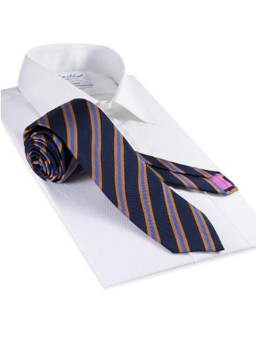 Mogador Woven Stripe Tie in Navy and Cornflower