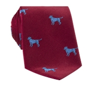 Silk Woven Tie with a Labrador Motif in New Red with Azure