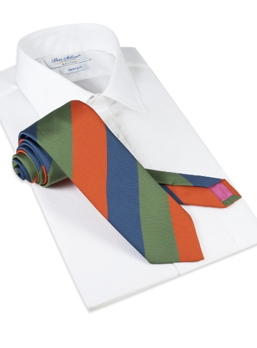 Mogador Block Stripe Tie in Tangerine, Olive and Denim