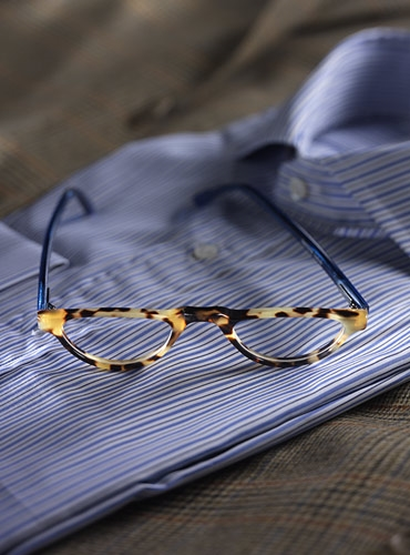 Silver Line Half Moon Reader in Light Tortoise and Blue