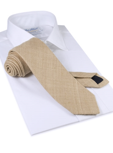 Shantung Silk Solid Tie in Sand