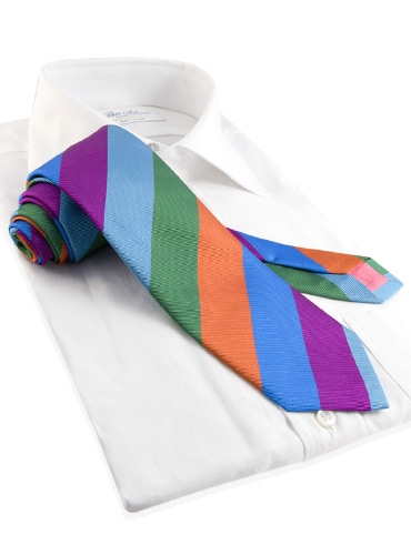 Silk Multi Color Stripe Tie in Jade, Malachite, Orange, Lagoon, and Fuchsia