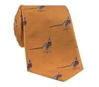 Silk Woven Pheasant Motif Tie in Amber