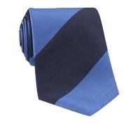 Silk Block Stripe Tie in Cobalt and Navy