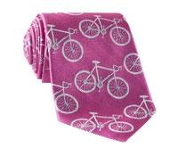 Silk Woven Bike Motif Tie in Fuchsia