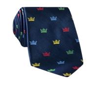 Silk Woven Crown Motif Tie in Navy