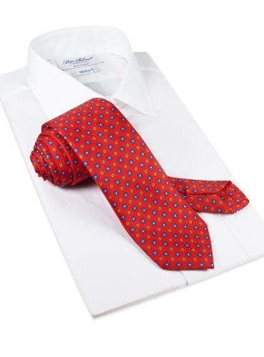 Silk Neat Print Tie in Red