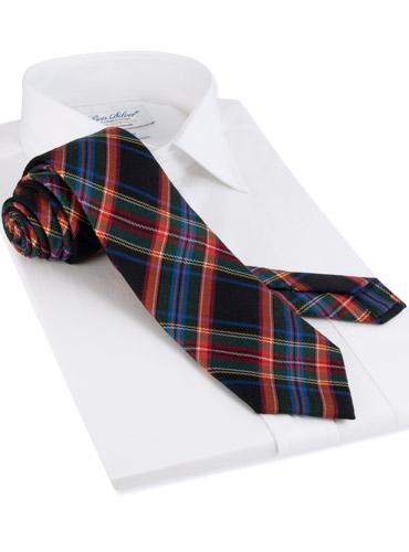 Woven Wool and Silk Plaid Tie in Navy