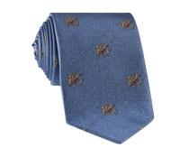 Silk Woven Crest Tie in Cobalt
