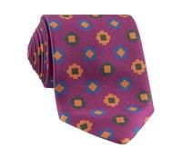 Silk Geometric Motif Tie in Berry