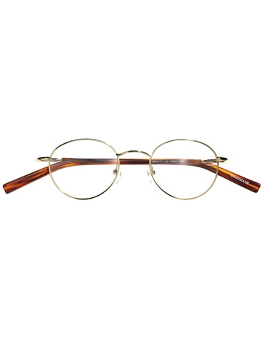 Round Wire Frame in Gold with Tortoise